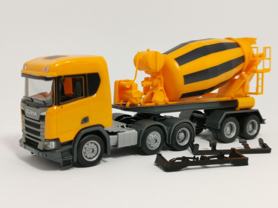 Orange Kommunal Herpa Motor für Betonmischer-Sattelauflieger 5 Stück